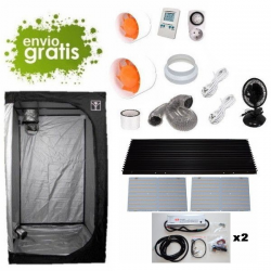 Kit LED 2 x 260w con armario 120x120x200cm básico DARK BOX Cultivo con armario LED